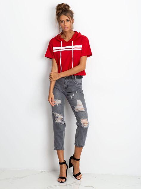 Czerwona bluza z kapturem                              zdj.                              4