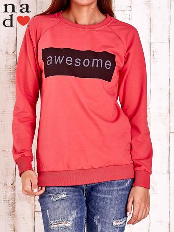 Czerwona bluza z napisem AWESOME                                  zdj.                                  1