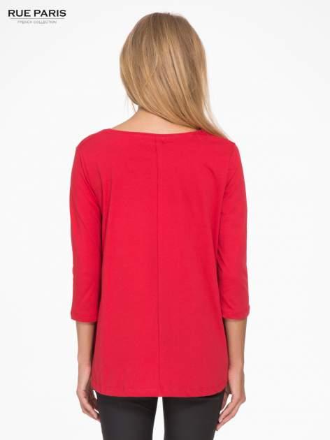Czerwona bluzka o rozkloszowanym kroju z rękawem 3/4                                  zdj.                                  4