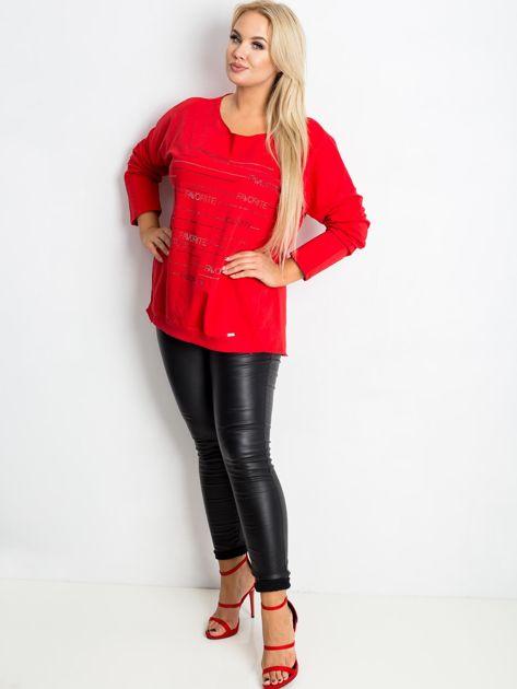 Czerwona bluzka plus size Shay                              zdj.                              4
