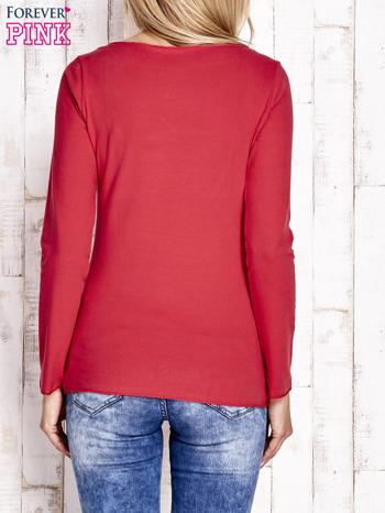 Czerwona bluzka z materiałową wstawką                                  zdj.                                  4