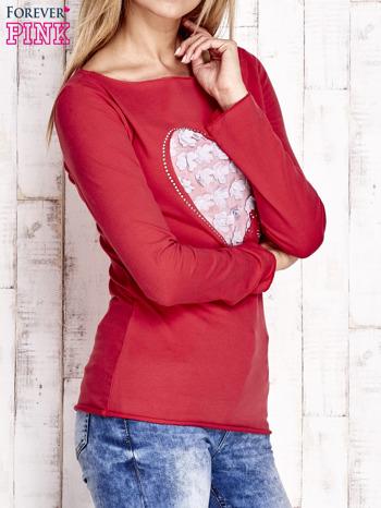 Czerwona bluzka z materiałową wstawką                                  zdj.                                  3