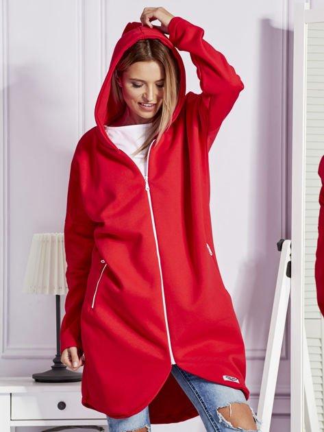 Czerwona długa ocieplana bluza z kapturem                               zdj.                              6