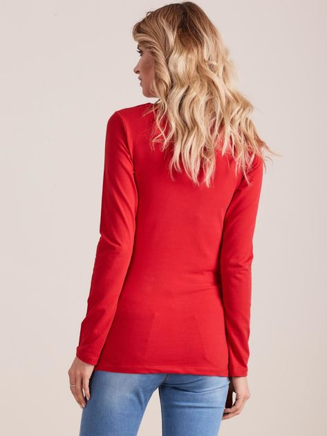 Czerwona dopasowana bluzka z ozdobnym dekoltem                              zdj.                              2