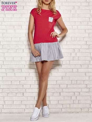 Czerwona dresowa sukienka tenisowa z kieszonką                                  zdj.                                  2