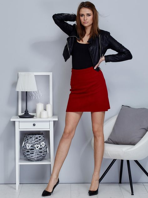 Czerwona dzianinowa spódnica mini                              zdj.                              4