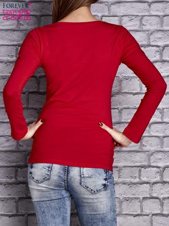 Czerwona gładka bluzka ze sznurowanym dekoltem i troczkami                                   zdj.                                  4