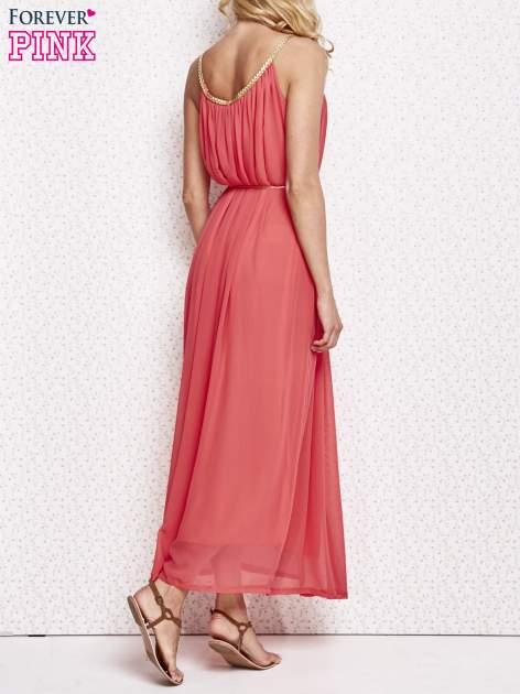 Czerwona grecka sukienka maxi ze złotym paskiem                                  zdj.                                  4