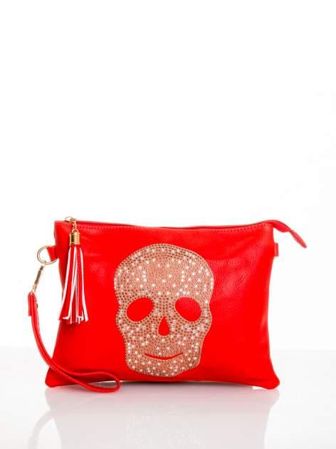 Czerwona kopertówka z dżetami motyw czaszki