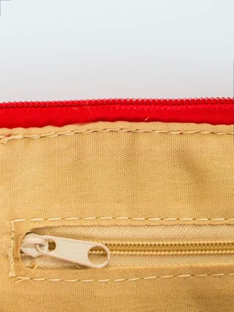 Czerwona kopertówka z dżetami motyw wąsów                                  zdj.                                  6