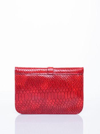 Czerwona kopertówka z motywem skóry krokodyla                                  zdj.                                  2