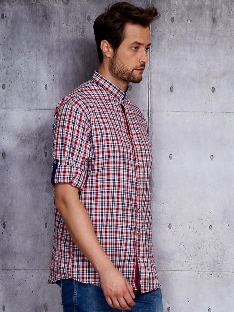 Czerwona koszula męska w kratę z podwijanymi rękawami PLUS SIZE                              zdj.                              5