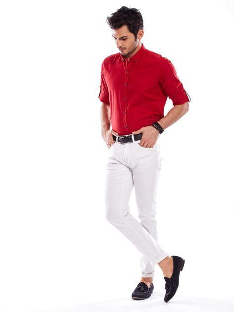 Czerwona koszula męska z podwijanymi rękawami                              zdj.                              4