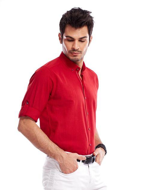 Czerwona koszula męska z podwijanymi rękawami                              zdj.                              7