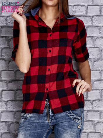 Czerwona koszula motyw kratki z denimową wstawką                                  zdj.                                  1