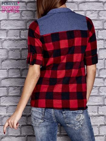 Czerwona koszula motyw kratki z denimową wstawką                                  zdj.                                  4
