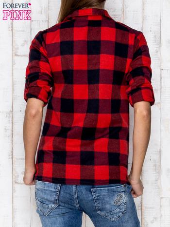 Czerwona koszula w kratę z kieszonką                              zdj.                              4