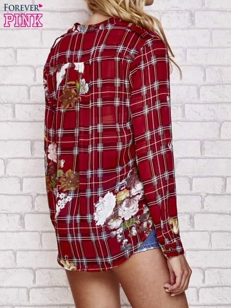 Czerwona koszula w kratę z kwiatami                                  zdj.                                  2