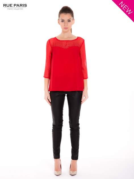 Czerwona koszula z przezroczystym materiałem w groszki                                  zdj.                                  4