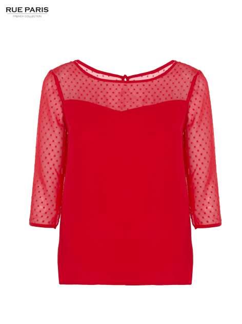 Czerwona koszula z przezroczystym materiałem w groszki