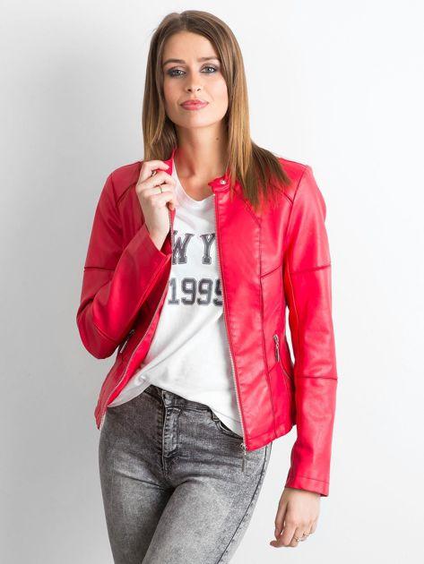 Czerwona kurtka biker damska                               zdj.                              1