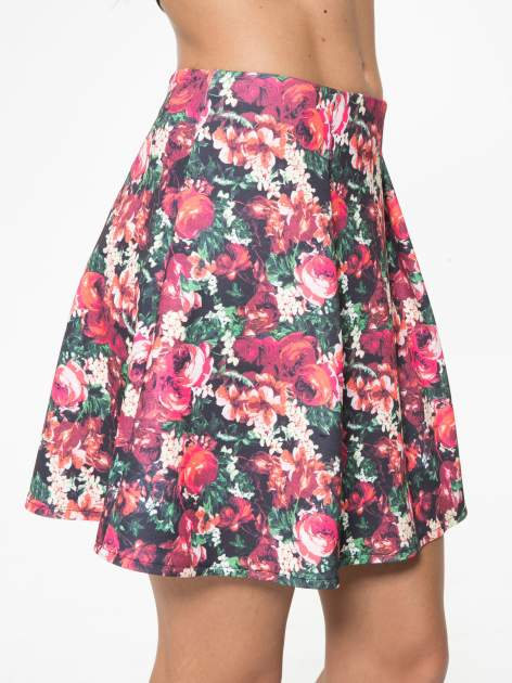 Czerwona kwiatowa mini pódnica skater                                  zdj.                                  7