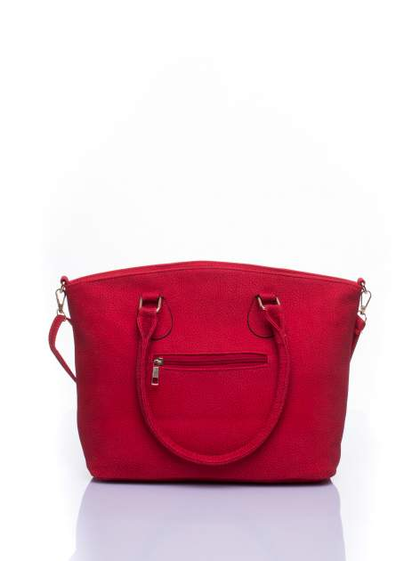 Czerwona miejska torba z czarną lamówką                                  zdj.                                  3