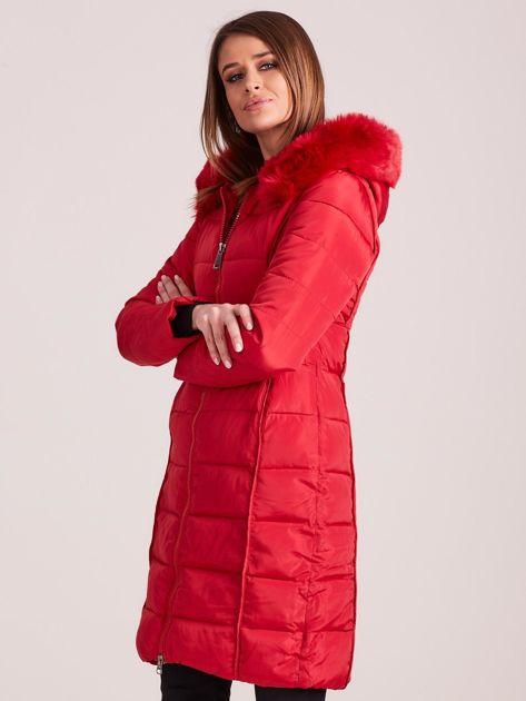 Czerwona pikowana damska kurtka zimowa                               zdj.                              3