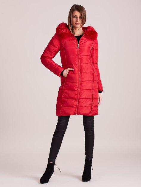 Czerwona pikowana damska kurtka zimowa                               zdj.                              4