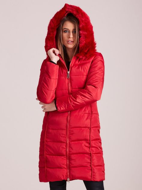 Czerwona pikowana damska kurtka zimowa                               zdj.                              6