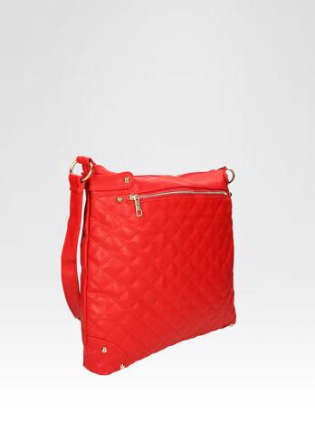Czerwona pikowana torebka na ramię                                  zdj.                                  2