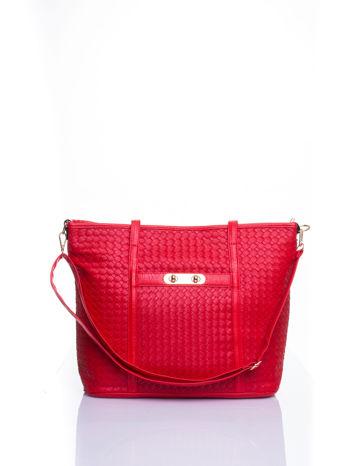 Czerwona pleciona torba shopper bag ze złotym detalem                                  zdj.                                  1