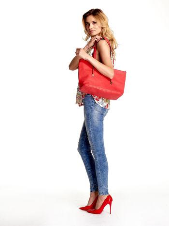 Czerwona prosta torba shopper bag                                  zdj.                                  6