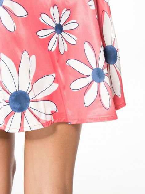 Czerwona rozkloszowana spódnica skater w kwiaty                                  zdj.                                  7