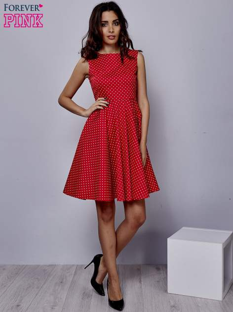 Czerwona rozkloszowana sukienka w groszki                                  zdj.                                  2