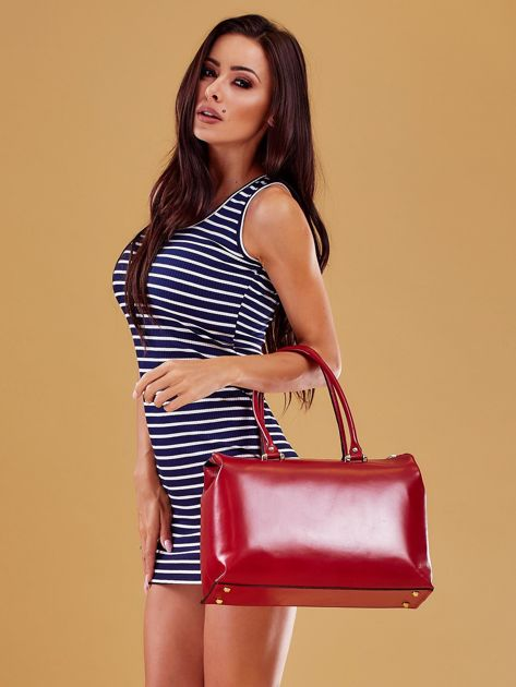 Czerwona skórzana torba damska kuferek                              zdj.                              5