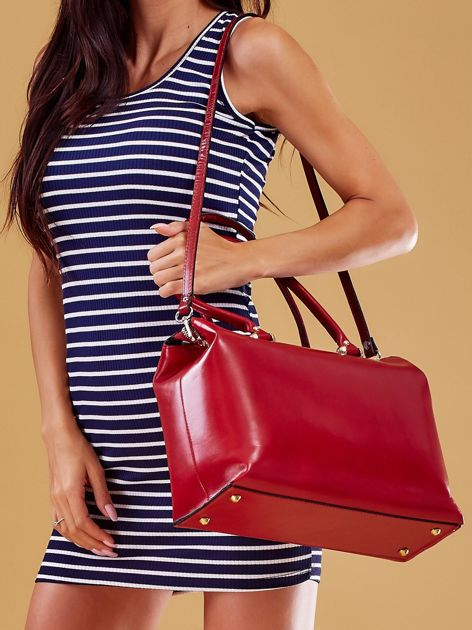 Czerwona skórzana torba damska kuferek                              zdj.                              6