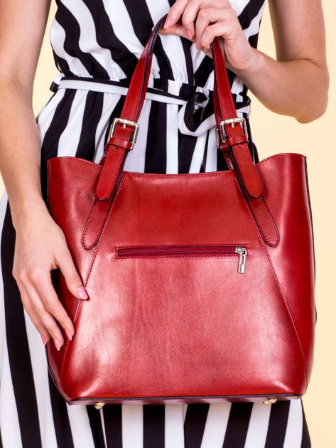 Czerwona skórzana torba shopper bag                              zdj.                              3