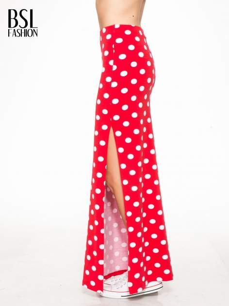 Czerwona spódnica maxi w grochy                                  zdj.                                  3