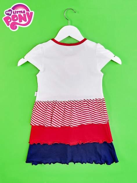Czerwona sukienka dla dziewczynki z kokardką i falbankami MY LITTLE PONY                                  zdj.                                  2