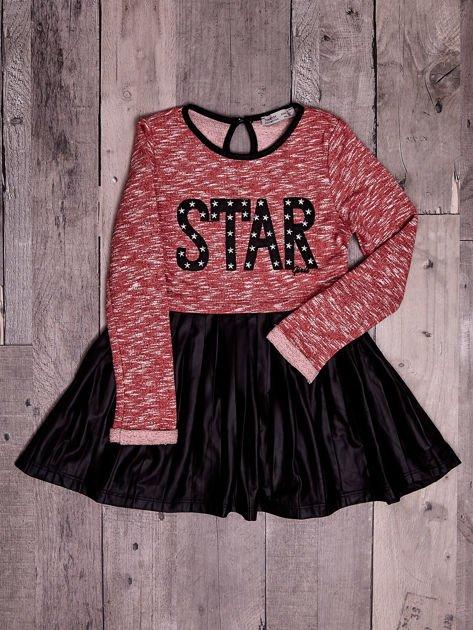 Czerwona sukienka dla dziewczynki z napisem                              zdj.                              6