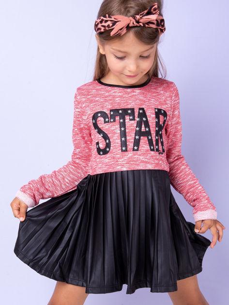 Czerwona sukienka dla dziewczynki z napisem                              zdj.                              1