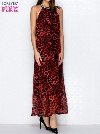 Czerwona sukienka maxi w panterę z biżuteryjnym dekoltem                                  zdj.                                  3