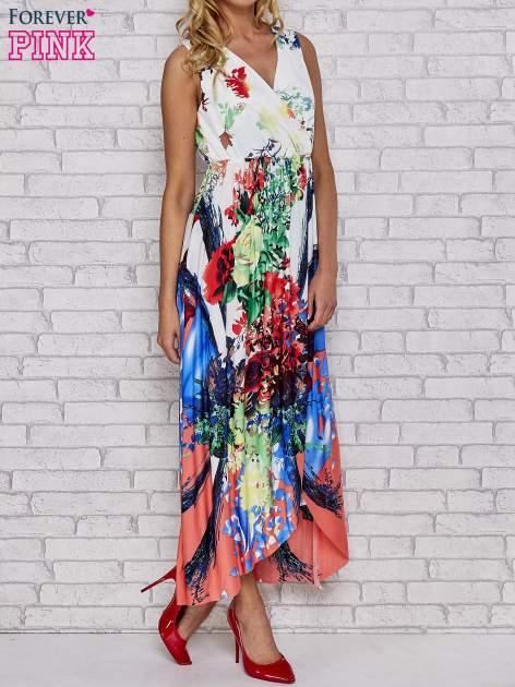 Czerwona sukienka maxi z trójkątnym dekoltem                                  zdj.                                  3