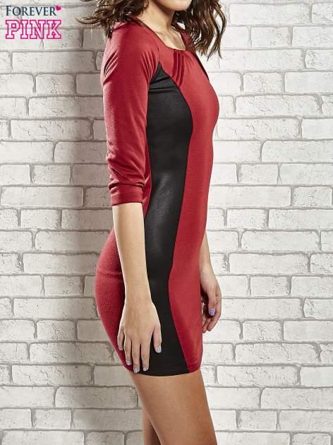 Czerwona sukienka tuba ze skórzanymi modułami                                  zdj.                                  3