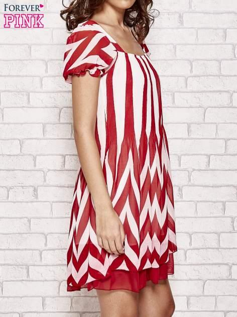 Czerwona sukienka w paski z bufiastymi rękawkami                                  zdj.                                  3