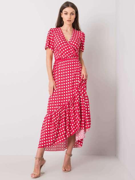 Czerwona sukienka z printami Arlinda