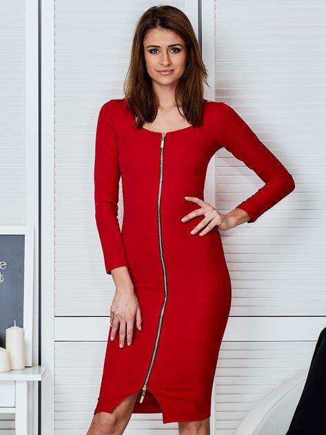 Czerwona sukienka z suwakiem                              zdj.                              1