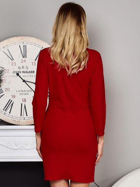 Czerwona sukienka ze sznurowaniami                              zdj.                              2