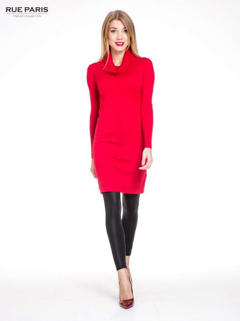 Czerwona swetrowa sukienka z golfem                                  zdj.                                  2